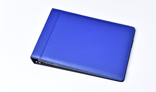 Leather 7 Ring Business Check Binder for 3 on a Page Checks By David Nathan Leather (blue)