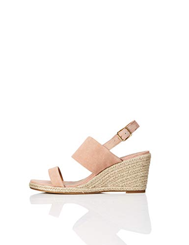 Amazon Brand - find. Women's Leather Wedge Heel Espadrille Shoes Pink), US 7.5