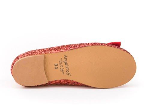 Zapatos Bailarinas para Niñas en Glitter Todo Piel mod.1577. Calzado infantil Made in Spain, Garantia de calidad. Rojo