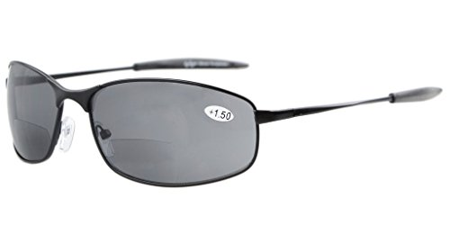 Eyekepper Metal Frame Fishing Golf Cycling Flying Outdoor Bifocal Sunglasses Black +2.0