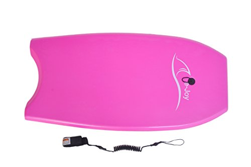 Super Lightweight Body board with Coiled Leash Slick Bottom, Perfect surfing Porpora_BD Pro Boogie Board