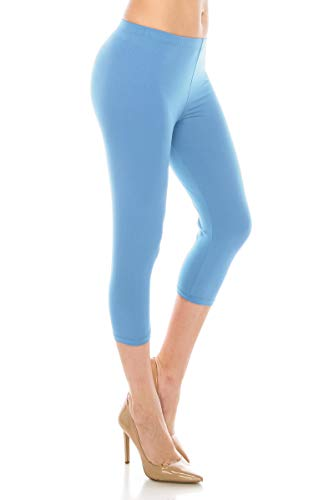 ALWAYS Women Basic Capri Leggings - Solid Buttery Premium Soft Stretch Yoga Workout Fitness Pants Sky Blue One -