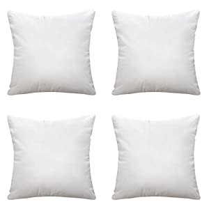 Calibrate Timing Throw Pillow Inserts, 4 Packs Hypoallergenic Square Form Sham Decorative Pillows Cushion Stuffer 12 x 12 inches