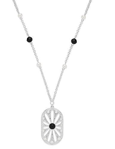 Sterling Forever - Gatsby Inspired, Art Deco Daisy Necklace - Art Deco Pendant Necklace