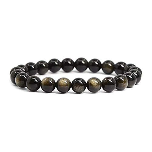 Turtledove Natural Semi Precious Gemstone Beaded Bracelet for Men & Women Stretchable Unisex Vintage Lucky Charm Stretch Bracelet 7.2'' (Black)