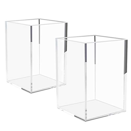 NIUBEE Acrylic Pen Holder 2 Pack,Clear Desktop Pencil Cup Stationery Organizer for Office Desk - Desktop Holder Pencil