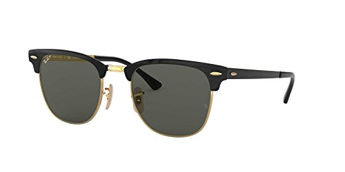 Ray-Ban Metal Unisex Polarized Square Sunglasses, Gold Top Black, 51 mm