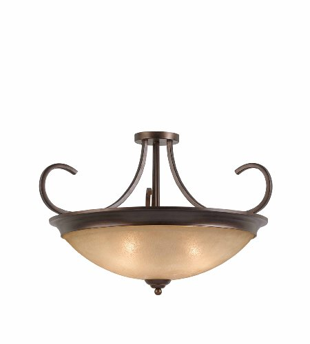 Triarch International 31401-27 La Costa Convertible Fixture with Hand-Painted Scavo Rainbow Glass, English Bronze Finish, -