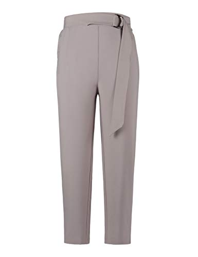Grey Cropped Trousers - MAVIS LAVEN Women's Pants Trouser Casual Cropped Paper Bag Waist Pants with Pockets Grey Medium