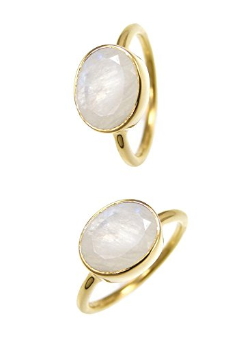 Oval Gemstone Stackable Ring - Moonstone Rings - Oval Gold Plated Sterling Silver Rings - Stackable Bezel Gemstone Rings