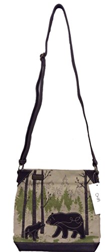 Chala Safari Canvas Mid-Size Crossbody Messenger Bag - Momma Bear
