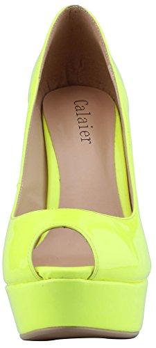 Calaier Womens Platform 15cm Stiletto Matrimonio Prom Party Scarpe Tacco Alto Scarpe Greenpatent
