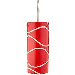 "Lite Source LS-19991RED Pacifica Pendant Lamp with Glass Shade, 4.75"" x 4.75"" x 85.5"", Red"