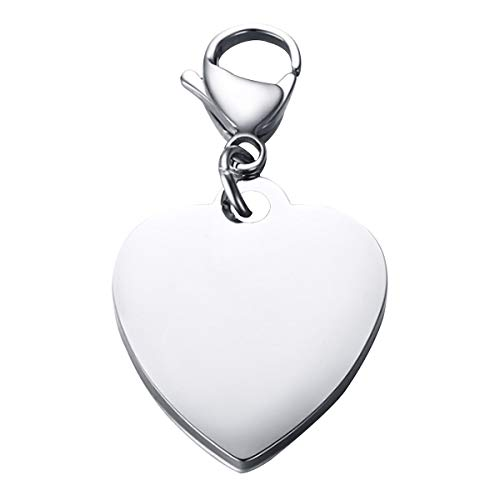 Nanafast Custom Engraved Stainless Steel Heart Shape ID Tag Keychain Perfect Bracelet/Necklace (Heart Keychain Engraved)