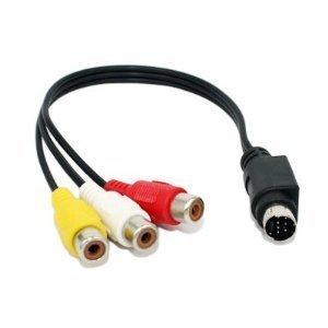 10inch S-Video 7-Pin Mini-DIN Male to 3 RCA Female Cable (3 Pin Female Mini)