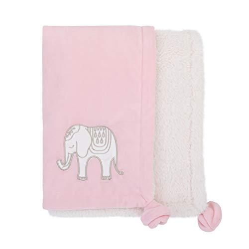 Blanket Bedding Appliqued Baby Sherpa - NoJo Serendipity - Pink Elephant Appliqued Plush Baby Blanket