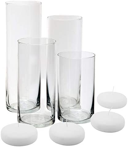 Royal Imports Glass Cylinder Vases – Set of 4 – Including 4 Floating DISC Candles, Decorative Centerpieces for Home or Wedding