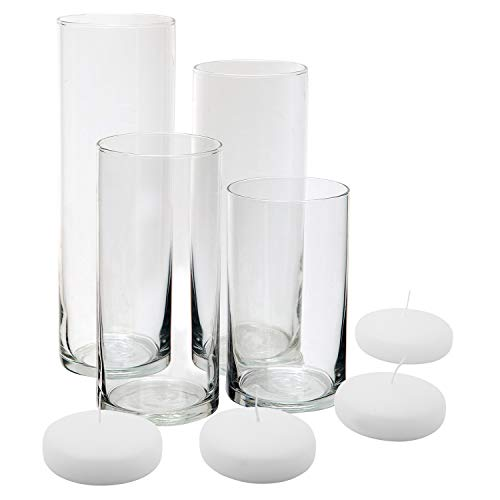 Royal Imports Glass Cylinder Vases - Set of 4 - Including 4 Floating DISC Candles, Decorative Centerpieces for Home or Wedding