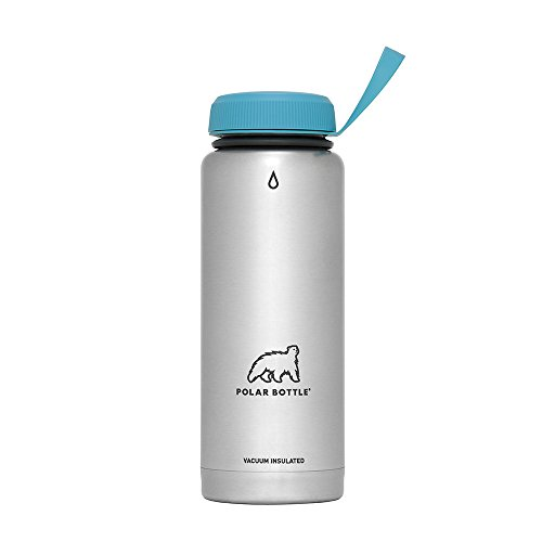 Polar Bottle Thermaluxe - Vacuum Insulated Stainless Steel Travel Mug, Stainless Steel {Standard Cap - Aqua}, 21 oz.