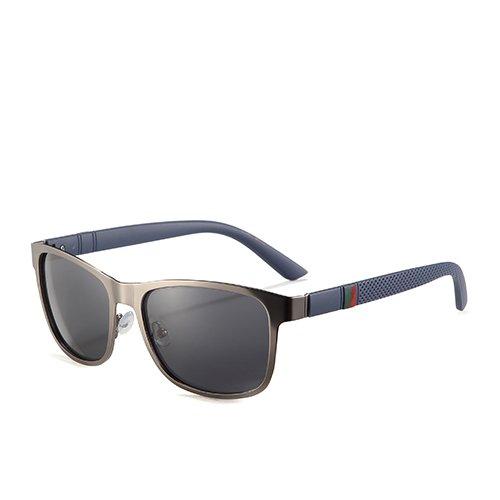 para Sol de Hombres C1 Humo polarizadas Orientación Hombres Sol Moda TL Viaje Gafas C2 los Negro Gafas de la Smoke Cuadrados Sunglasses Gafas para Gun de de EfwxqaXWaO