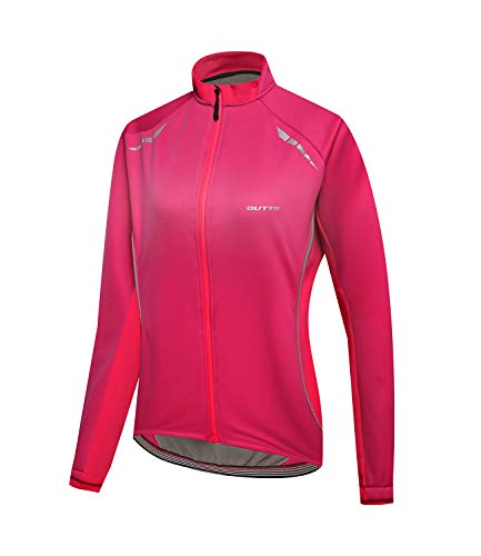Outto Women's Cycling Thermal Jacket Softshell Winter Long Sleeve Windproof Jersey(Large,18-EY -