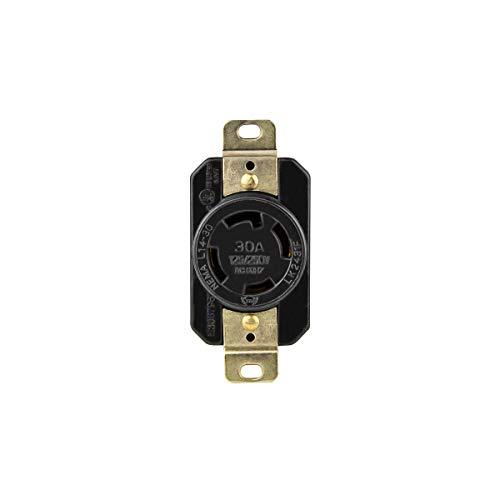 ENERLITES Industrial Grade 30A 125/250V Locking Receptacle, NEMA L14-30R, 3P, 4W, 66490-BK, Black ()