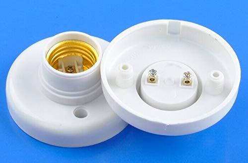 Lamp Base - 20Pcs White Plastic E27 Round Base Screw Light Bulb Lamp Socket Holder