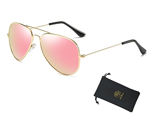 Red Peony Aviator Sunglasses Premium Classic Colored Lens Polarized Sunglasses- UV 400 Protection Sunglasses AORON Design (Gold, - Aviator Sunglasses Polarized Pink