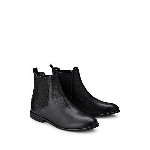 Cox Dames Chelsea-laarzen In Zwart Zwart Lederen Enkellaars Met Stretch-gebruik En Hogere Economie