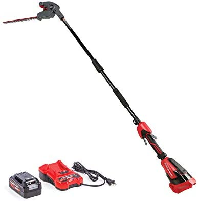 Powerworks XB 40V 20-Inch Cordless Pole Hedge Trimmer, 2Ah Battery and Charger Included PTP301, 20 inch, Black Red