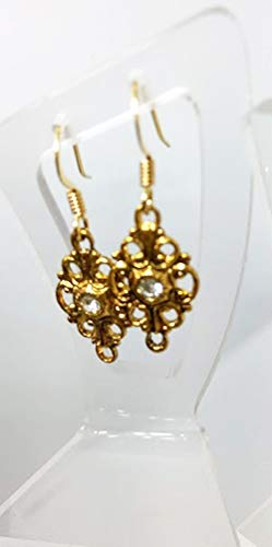 Vintage Style Filagree and Rhinestone Drop Earrings 1 1/4 inches ()