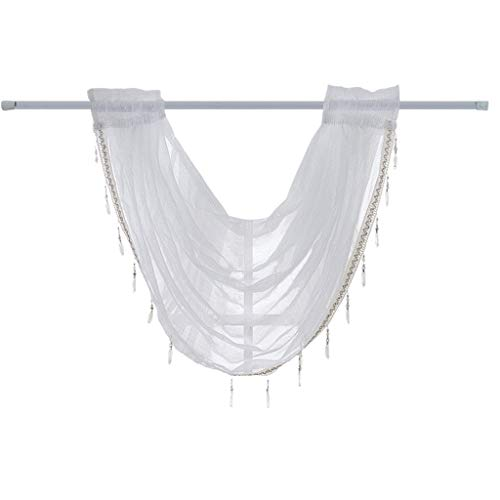Transer- Luxury Sheer Embroidered Diamond Tassel Pendant Waterfall Window Curtain Valance with Rod Pocket Top 37''x57 (White - 1 Pcs)