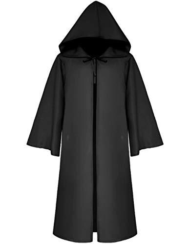 Men's Star War Jedi Robes Middle Age Death Knight Capes Kids Halloween Jedi Cosplay Cloak Costume Robe(BL-XL)