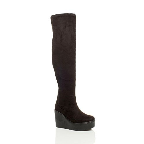 Ajvani Women's High Heel Stretch Over The Knee Boots Size