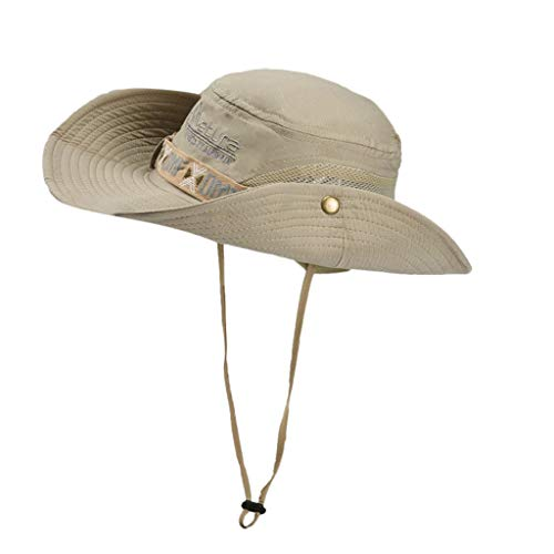 Weiliru Summer UPF 50+ Protection Wide Strap Bucket Adjustable Unisex Beach Swim Hat]()