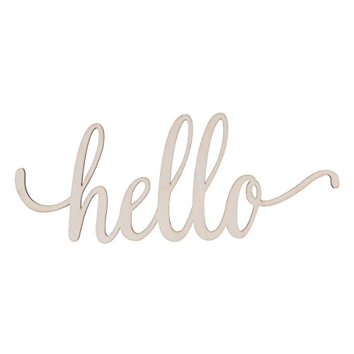 WINOMO Wooden Hello Letter Unfinished Wooden Hello Sign Wall Art Decoration 30.5x12.7x0.4cm
