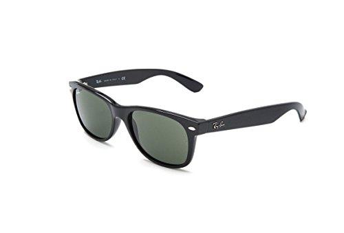 Ray Ban RB2132 901L NEW WAYFARER 55mm Sunglasses - Size: 55--18--145 - Color: Black Frame/ Crystal Green Lens   ()