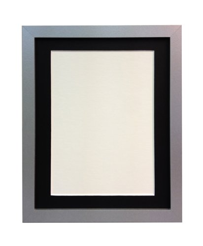 Frames By Post H7 Picture Photo Frame Wood Silver With Black Mount