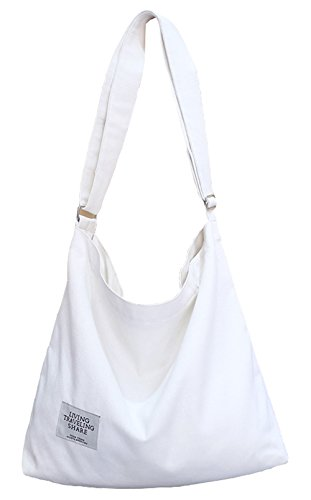 (Covelin Women's Retro Large Size Canvas Shoulder Bag Hobo Crossbody Handbag Casual Tote White)