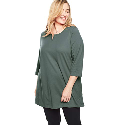 Woman Within Women's Plus Size Perfect Scoop Neck Three-Quarter Sleeve Tunic - Pine, - Sleeve Top Quarter Three