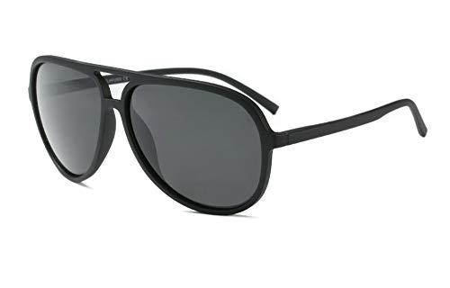 Polarized Aviator Sunglasses for Men Women Black TR90 Frame Ultralight Sunshades (Matte Black, 65)
