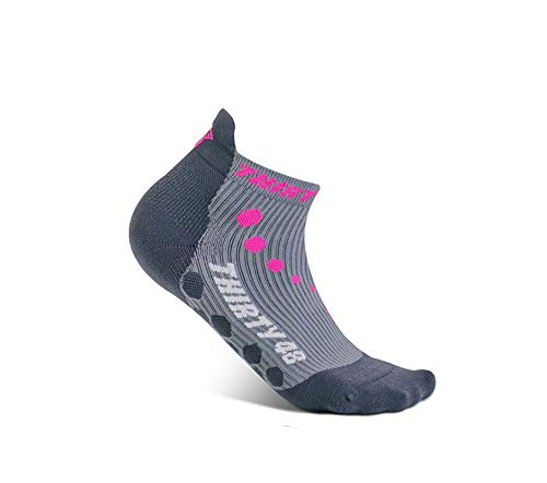 Thirty 48 Compression Low-Cut Running Socks for Men and Women (Small - Women 5-6.5 // Men 6-7.5, [1 Pair] Pink/Gray) by Thirty 48 (Image #2)