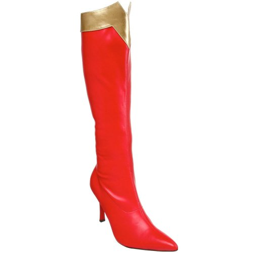Girls Red And Gold Super Boots (Sunny&Baby Women's Shoes Red Gold Knee High Super Hero Boots for Ladies 3 3/4