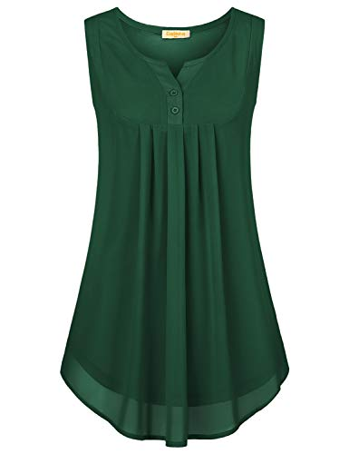 (Baikea Swing Tops for Women Plus Size,Chiffon Blouse Maternity 2XL Baggy Pin Tuck Tunic Lightweight Breezy Soft Comfy Daily Wear with Snap Buttons Trim Dark Green XX Large)