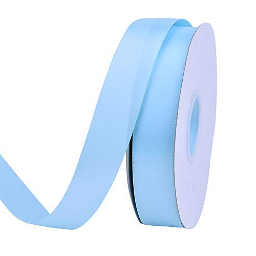 Ribest 1 inch 50 Yards Solid Double Face Satin Ribbon Per Roll for DIY Hair Accessories Scrapbooking Gift Packaging Party Decoration Wedding Flowers Light Blue