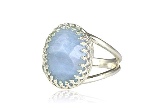 Elegant Oval Ring from Anemone Jewelry - 3.87ct Lovely Blue Lace Agate - Handmade Oval Engagement Ring, Casual Ring - Handmade Rings for Women [All Sizes Available]