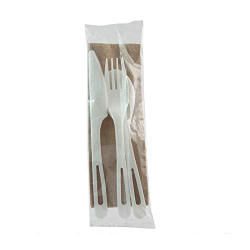 World Centric AS-PS-TN Corn Starch Utensil Set (Knife, Fork, Spoon, Napkin) – 200F, Individually Wrapped, 250 ct