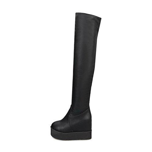 Round Pull Toe Boots On Black High Pu Closed Allhqfashion Heels Women's Solid xR5IOqFA