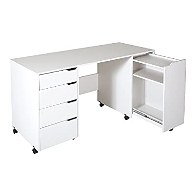 South Shore Crea Craft Table on Wheels with Sliding Shelf, Storage Drawers and Scratchproof Surface, Pure White - PERFECT WORKING SURFACE: Featuring scratch proof and water resistant properties, this craft table allows you to work on all projects on its sturdy surface. EASY TO MANEUVER: Resting on 4 wheels, this table is easy to move where you need to station it, making for a versatile craft room. VAST STORAGE OPTIONS: Offering a spacious top surface area, 1 sliding shelf with removable dowels, 3 drawers and 1 large sliding shelf, this table is perfect for crafting or sewing. - writing-desks, living-room-furniture, living-room - 31DuRTnf iL. SS400  -