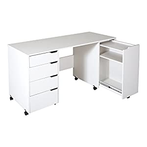 Amazon Com South Shore Crea Sewing Craft Table On Wheels